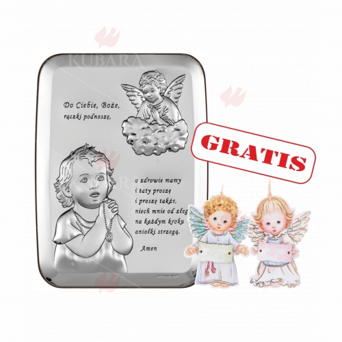Srebrne Obrazki Religijne Modlace Sie Dziecko Z Aniolem Strozem