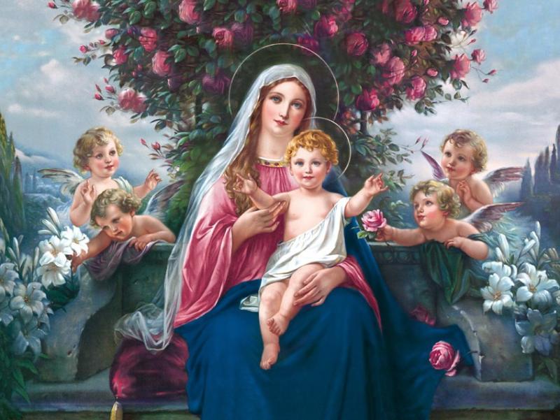 Plakat Religijny Matka Boża I Dzieciątko Jezus Z Aniołkami